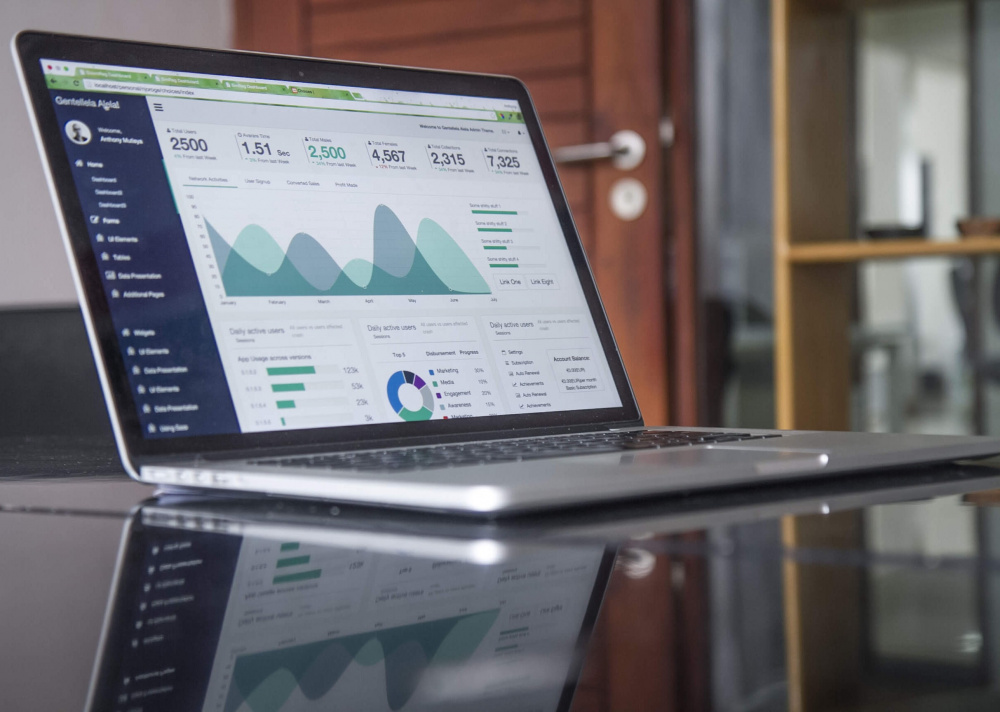 analytics shown on a laptop stock image